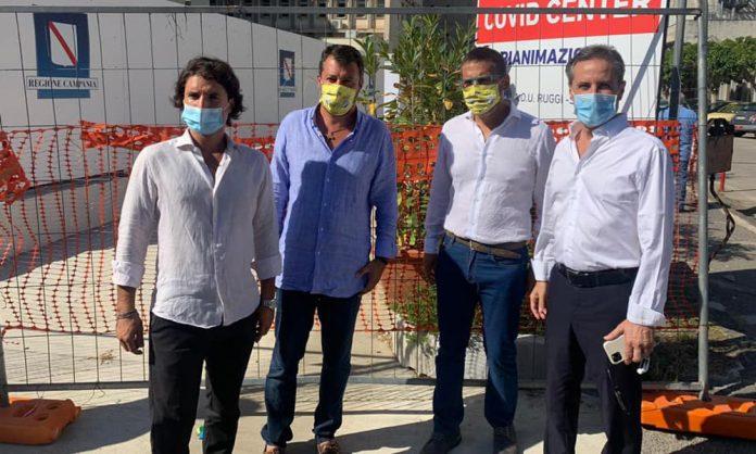 Caldoro e Salvini al Covid Hospital di Salerno