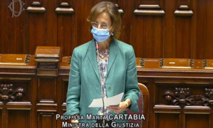 Il ministro Cartabia in Aula